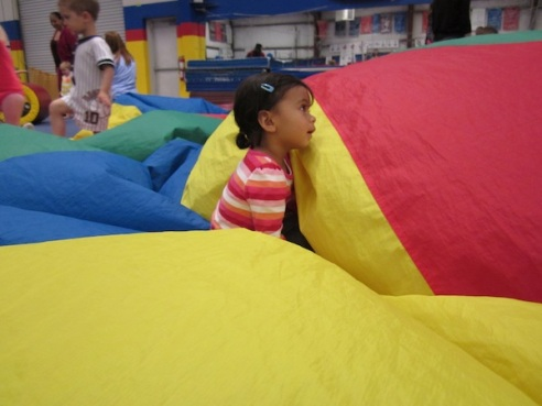 Stomping out the parachute air bubbles.
