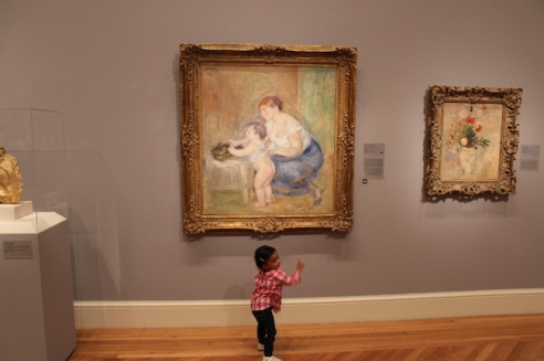 "Shrieked when she saw the ""bay-beee"" and ""Mama""!  Mother and Child, by Pierre-Auguste Renoir, 1895."